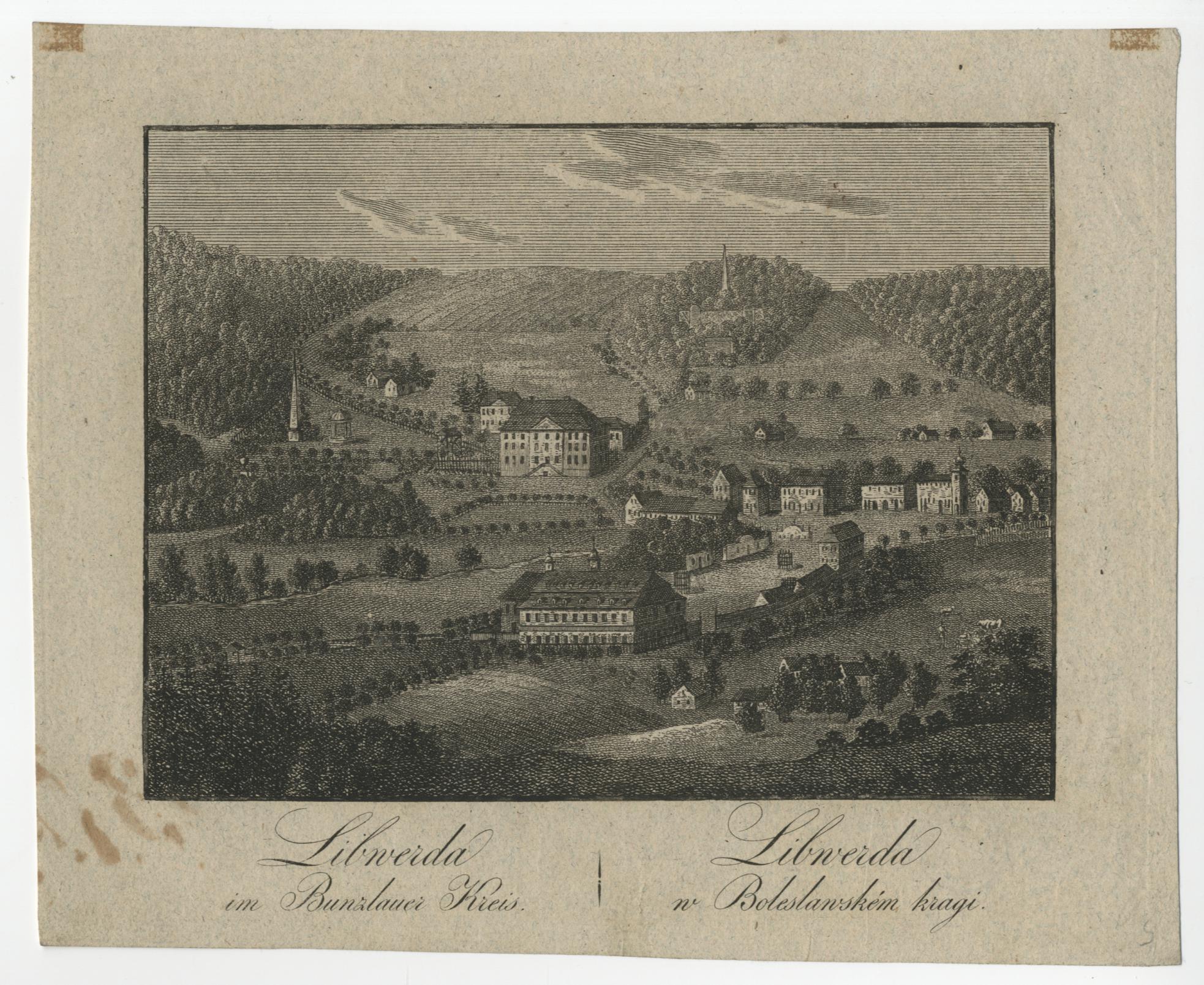 autor: Medau Karel Vilém (1791–1866) Sedm pohledů na města, hrady a zámky severních Čech, Libverda; 19. století materiál: lept, papír