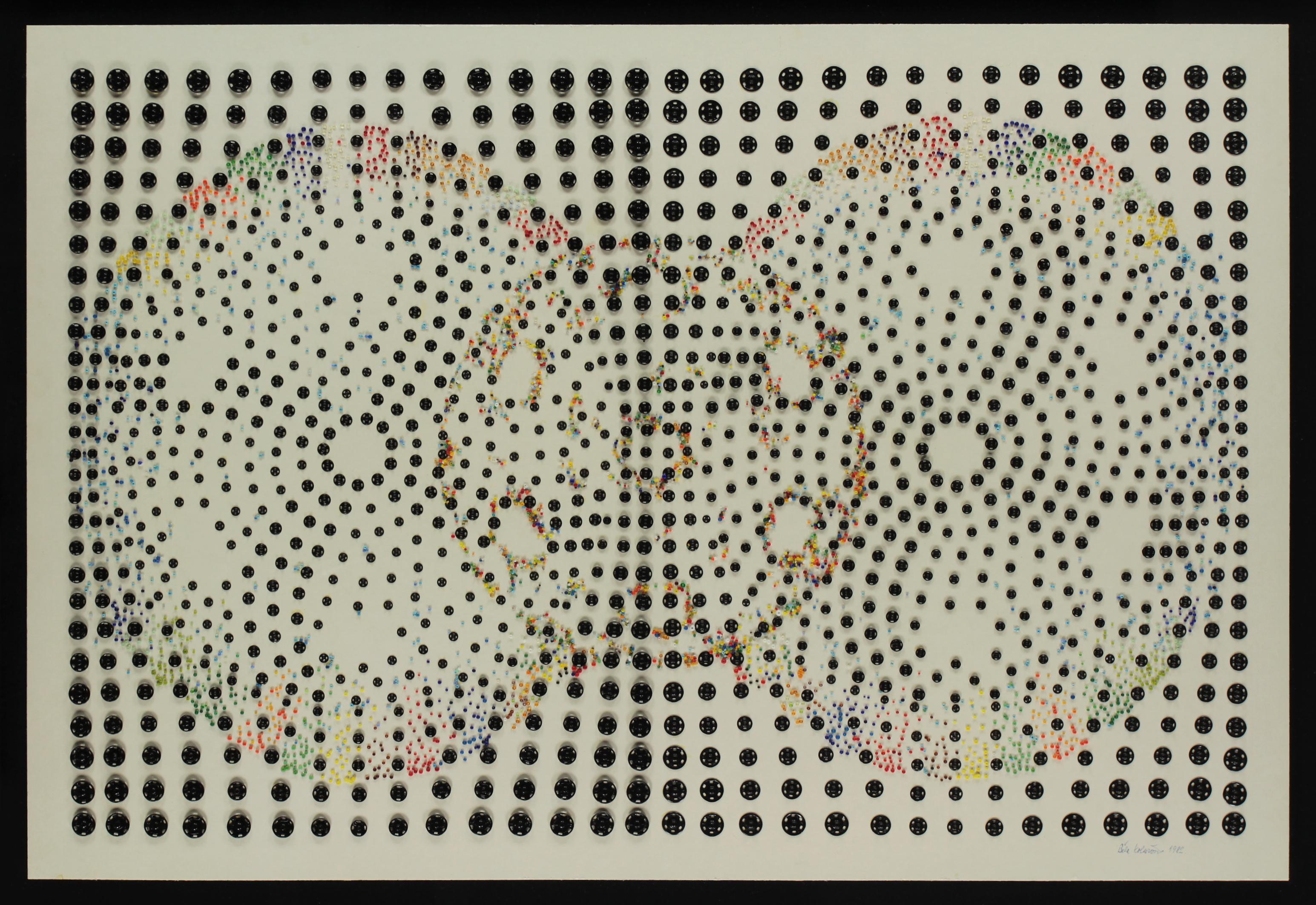 Běla Kolářová: Životopis jedné patentky V. (Modrá - bílá - červená), 1982, asambláž, patentky, korálky, karton